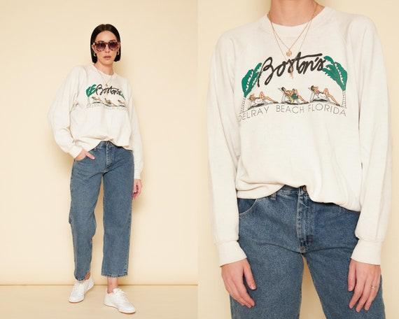 Vintage 80s Soft Sweatshirt / White Thin Worn In S