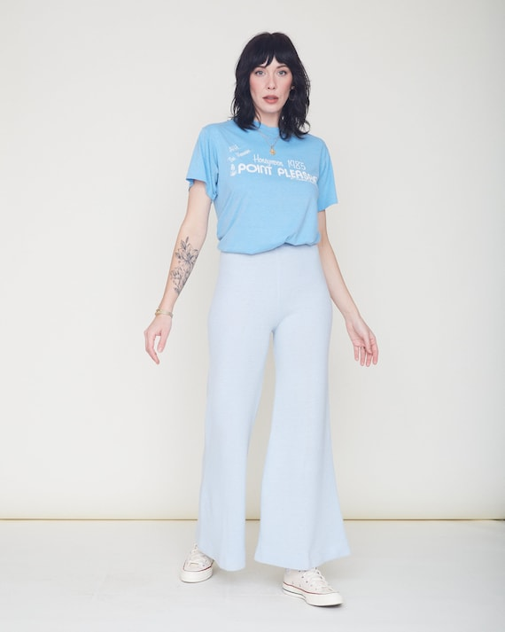Vintage 70s Knit Bell Bottom Pants / Baby Blue Or… - image 8