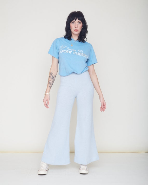 Vintage 70s Knit Bell Bottom Pants / Baby Blue Or… - image 3
