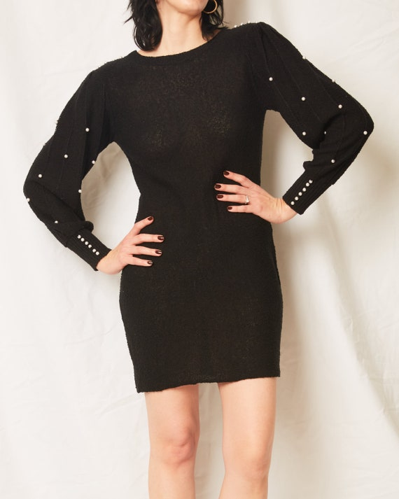 Vintage 70s/80s Black Sweater Dress With Pearls /… - image 4
