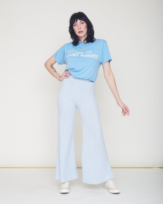 Vintage 70s Knit Bell Bottom Pants / Baby Blue Or… - image 2