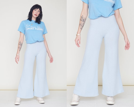 Vintage 70s Knit Bell Bottom Pants / Baby Blue Orl