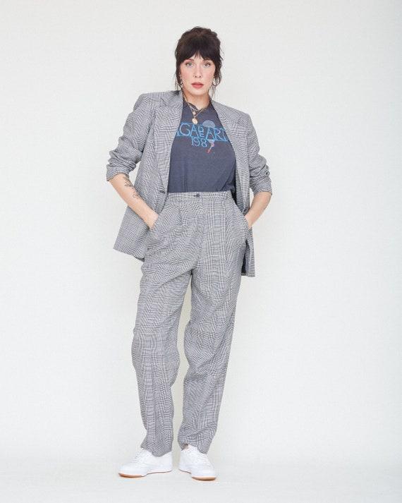 Vintage 80s/90s 2-Piece Black & White Plaid Suit … - image 5