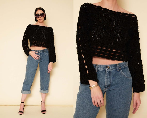 Vintage 80s Black Open Knit Crop Sweater / Chunky
