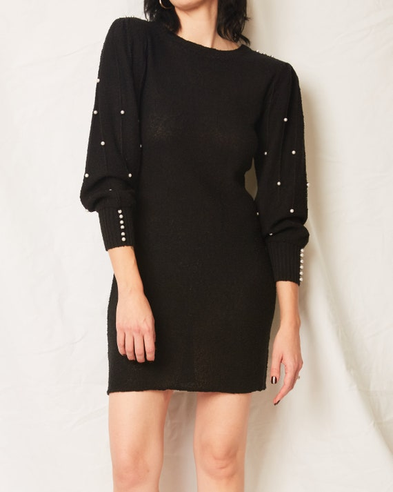 Vintage 70s/80s Black Sweater Dress With Pearls /… - image 5