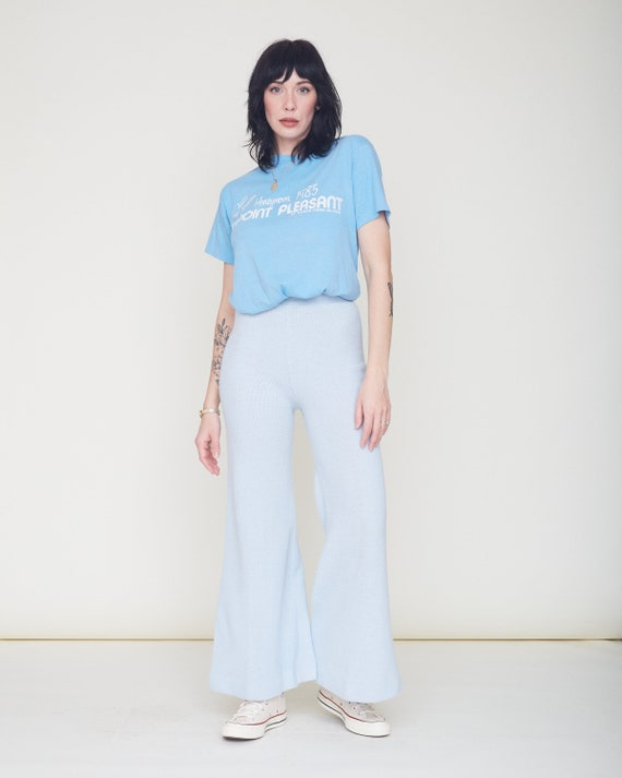Vintage 70s Knit Bell Bottom Pants / Baby Blue Or… - image 5