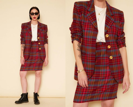 Vintage 80s Plaid 2-Piece Skirt Suit / Pink Red Wo