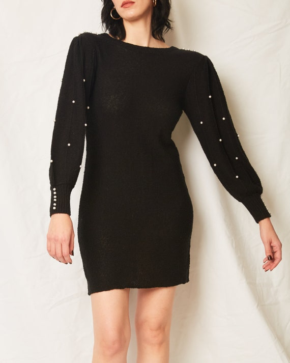 Vintage 70s/80s Black Sweater Dress With Pearls /… - image 3