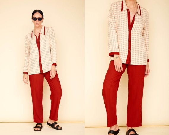 Vintage 80s Two-Piece Casual Women's Suit / Cream