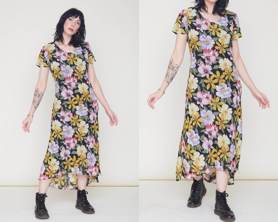 Vintage 90s Floral Chiffon Dress / Bias Cut Black