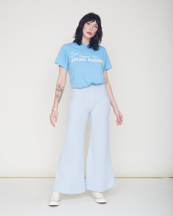 Vintage 70s Knit Bell Bottom Pants / Baby Blue Or… - image 7