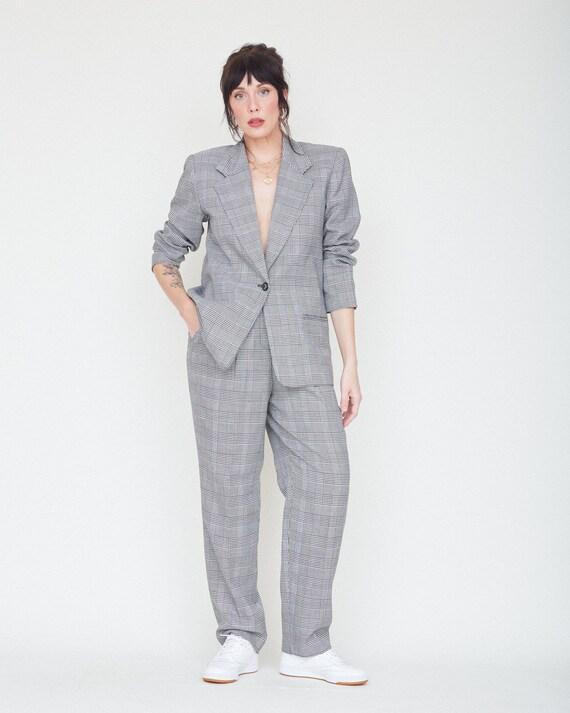 Vintage 80s/90s 2-Piece Black & White Plaid Suit … - image 4