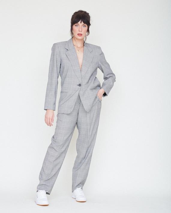 Vintage 80s/90s 2-Piece Black & White Plaid Suit … - image 2