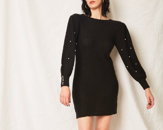 Vintage 70s/80s Black Sweater Dress With Pearls /… - image 1
