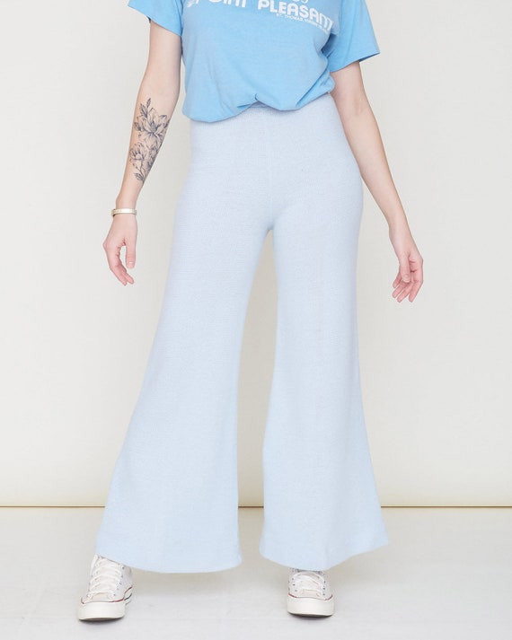 Vintage 70s Knit Bell Bottom Pants / Baby Blue Or… - image 9