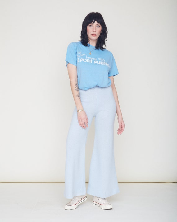 Vintage 70s Knit Bell Bottom Pants / Baby Blue Or… - image 6