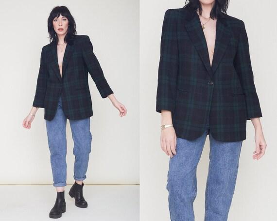 Vintage 90s Tartan Plaid Blazer / Navy Blue & Gree
