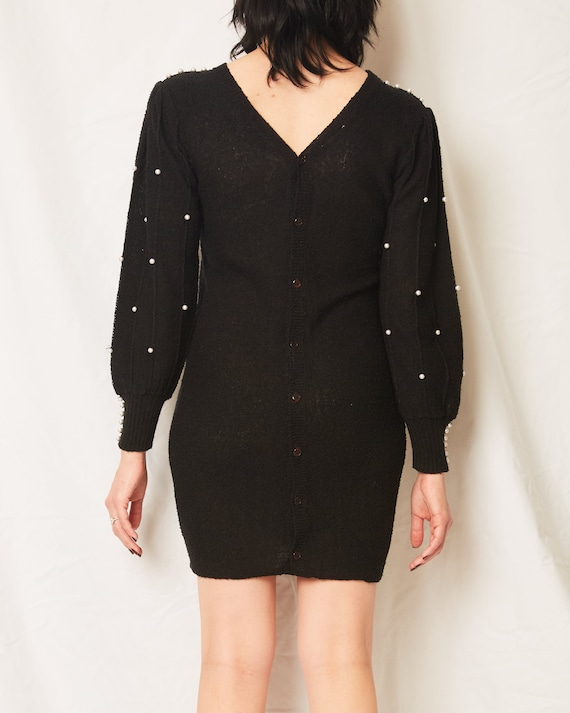 Vintage 70s/80s Black Sweater Dress With Pearls /… - image 6