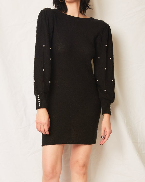 Vintage 70s/80s Black Sweater Dress With Pearls /… - image 2