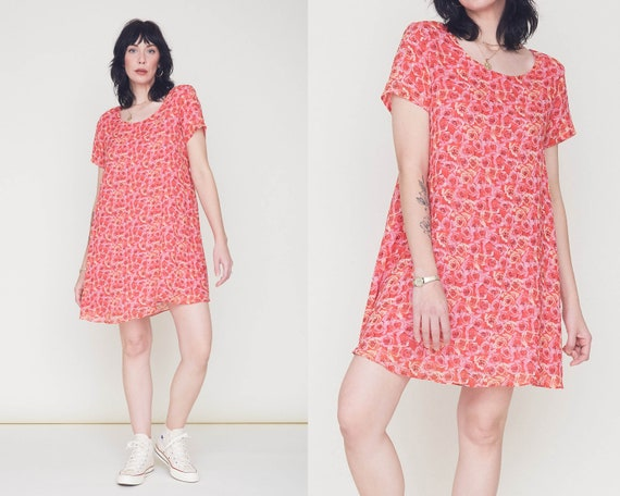 Vintage 90s Silk Chiffon Maternity Shift Dress / P