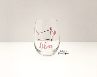 Aquarius Astrological Sign 360 Degree Engraved Stemless Wine Glass