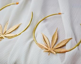 MARY JANE : ganja leaf hoops, gold brass, cannabis statement earrings