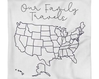 "Travel Map Pillow Case 18""x18"", States Visited Pillow, RV Pillow, Camper Pillow"