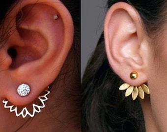 Ear Jacket Earring, Trendy Ear Cuff Climber, Double Side Earring, Front and Back Earring