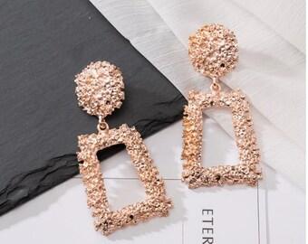 Long silver distressed rectangle geometric earrings