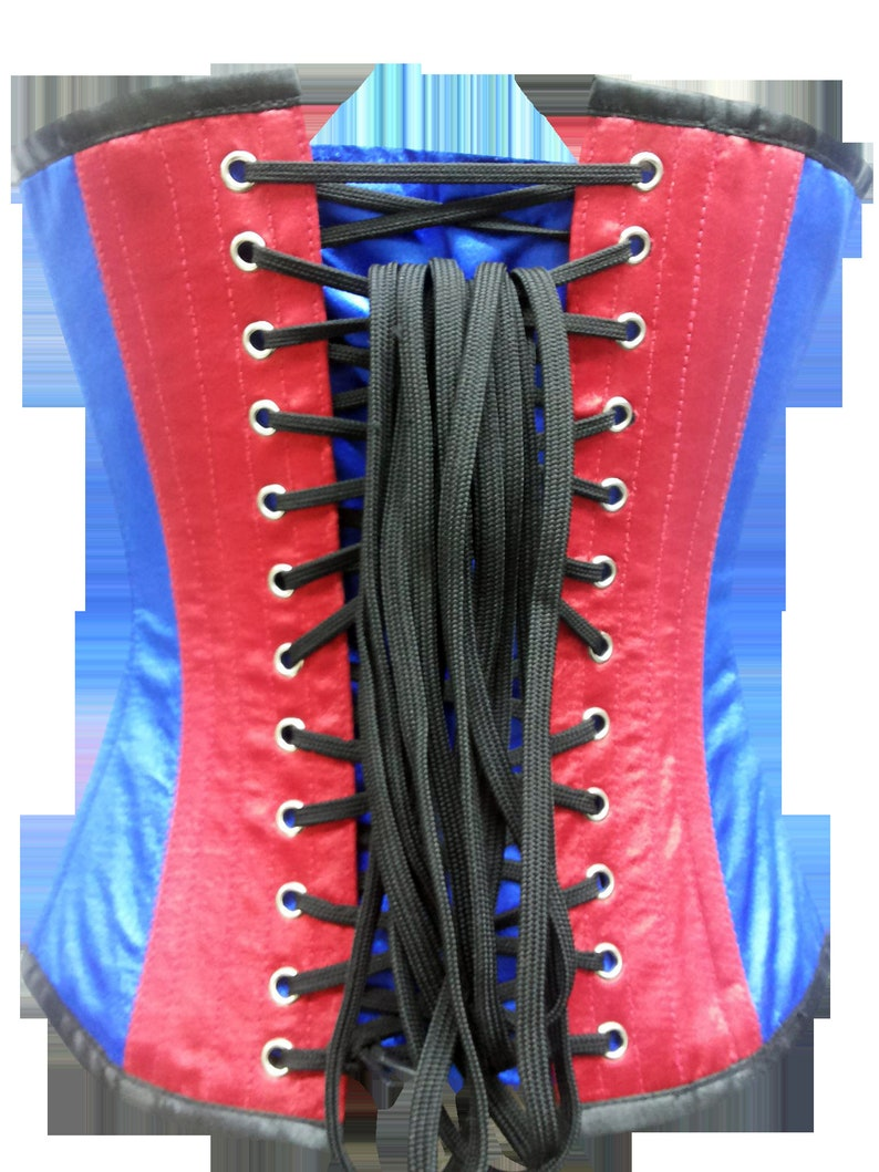 Women\u2019s Red /& Blue Satin V Shape Leather Strips Front Busk Opening Steampunk Waist Training Overbust Corset Top