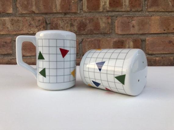 Set of Memphis *like* Design ceramic salt and pepper shakers.