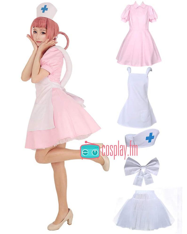 Nurse Joy Cosplay Costume Outfit Pink Dress
