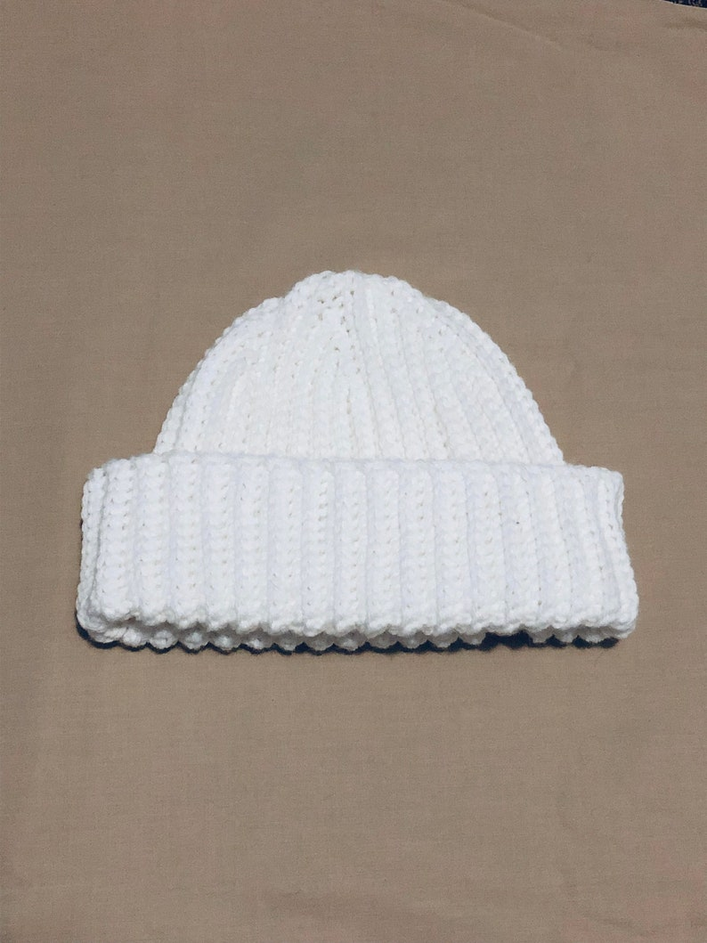 White Crochet Ribbed Fitted Beanie