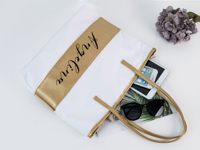 Gold Tote Bag Bridesmaid Gift Bags Personalized Bridesmaid Tote Bags for Maid of Honor Bachelorette Parties Weddings Honeymoons