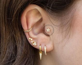 Flower Tragus Piercing, Helix Piercing, Cartilage Piercing, 16G, Tiny Flower, Tragus, Conch, Auricle, Philtrum, Auricle Piercing