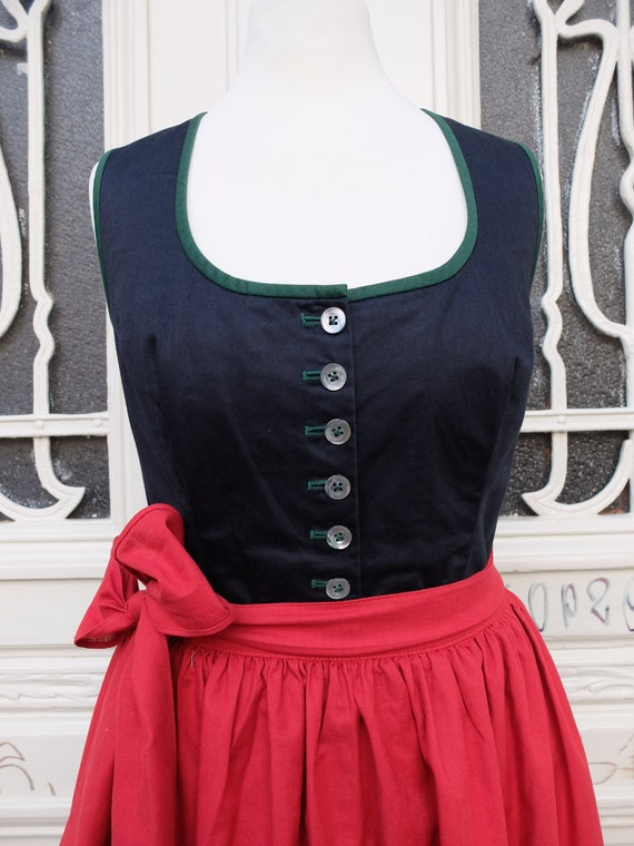 Dirndl with apron, vintage dirndl, black red green