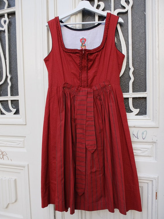 Dirndl with apron, Vintage Dirndl, red, size 44