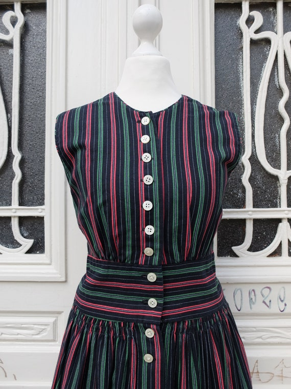 Dirndl high-necked, vintage dirndl, black / red /