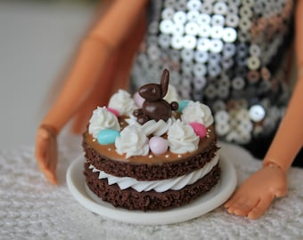 Miniature Easter cake decorated with candy eggs. Food for Barbie Doll, scale 1: 6.
