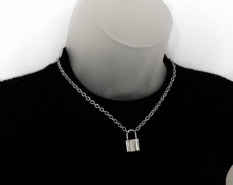 Punk Unisex Women Padlock Necklace Stainless Steel Pendant Chain Club Party YT