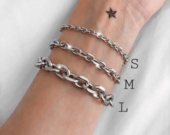 Silver unisex chunky chain bracelets, stainless steel bracelets