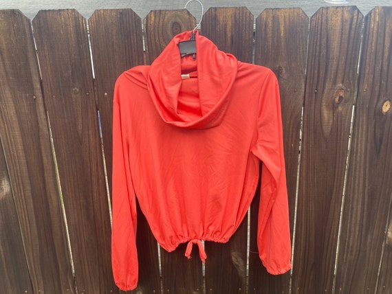 Coral polyester crop top