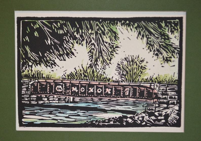 Indianapolis Monon Trail Bridge Block Print
