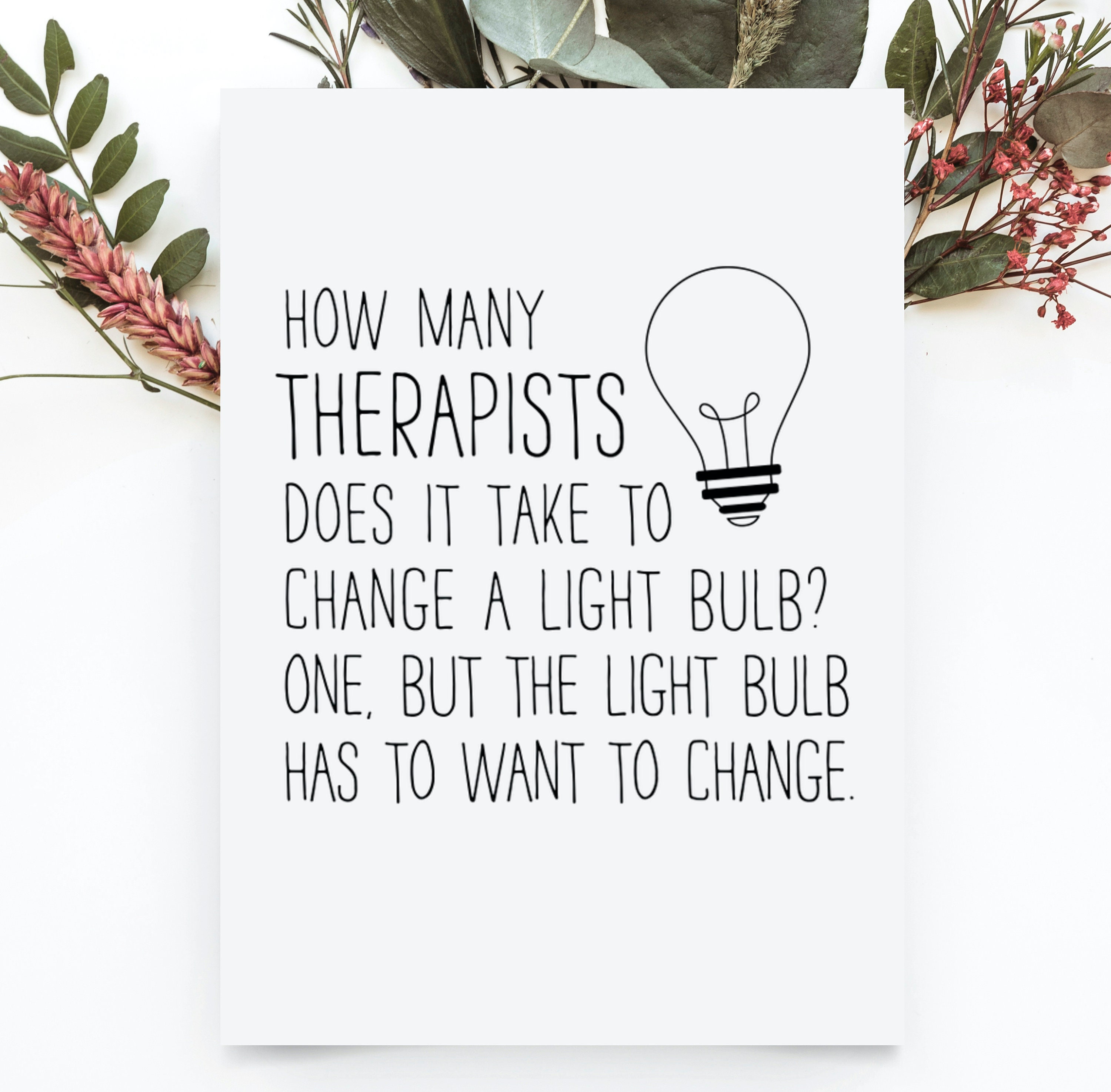 Therapist Card, Funny Therapy Birthday Card, Therapist Thank You Gift,  Therapist Appreciation Greeting Card