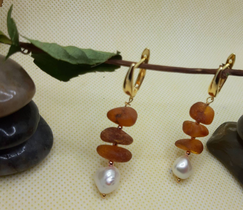 Baltic Amber Earrings/&Freshwater PearlGIFTGENUINE GEMSTONE