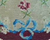Pretty Antique French Needlework, Embroidery Roses Blue Bows