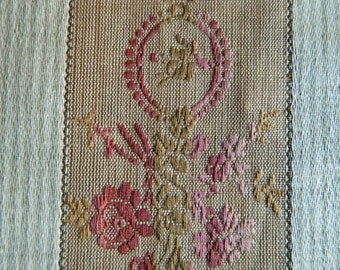 19th Century Antique French Woven Linen Jacquard Type Classic Design