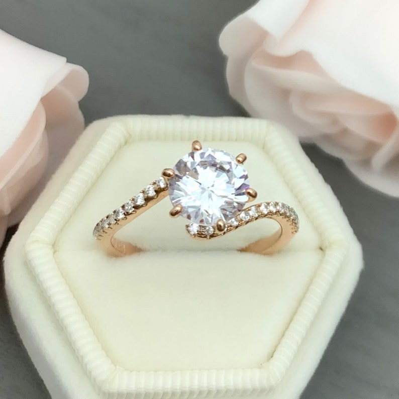 Rose Gold Round Simulated Diamond Art Deco Curved Band Engagement Ring Six Prong Sterling Silver Or 14K Solid Rose Gold Wedding Ring