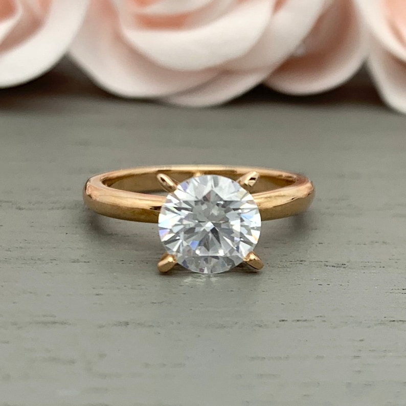 Round Cut 1.50Ct Simulated Diamond 14K Rose Gold Solitaire Engagement Ring Solid Rose Gold Bridal Wedding Promise Ring