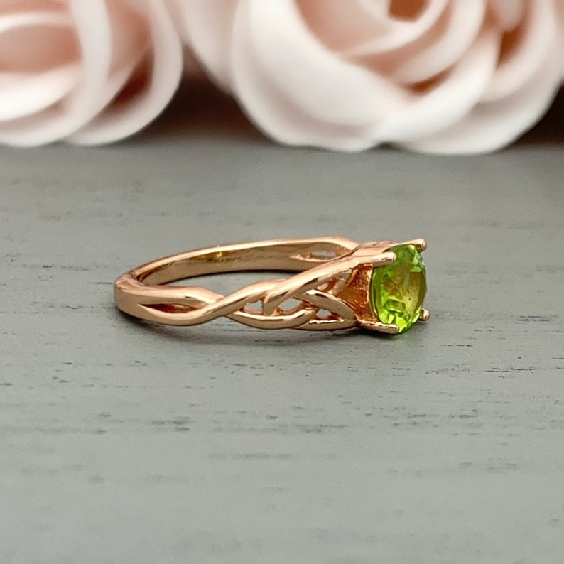 Round Natural Peridot Rose Gold Celtic Engagement Ring Sterling Silver Or 14K Solid Gold Triquetra Irish Solitaire Promise Wedding Ring